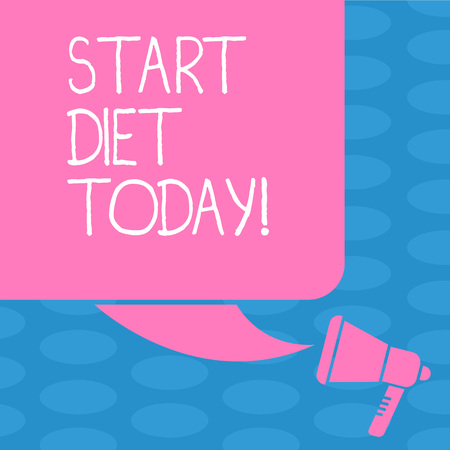Word writing text Start Diet Today. Business photo showcasing special course food to which demonstrating restricts themselves Color Silhouette of Blank Square Speech Bubble and Megaphone photo