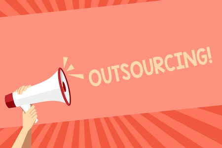 Conceptual hand writing showing Outsourcing. Concept meaning Obtain goods or service by contract from an outside supplier Human Hand Holding Megaphone with Sound Icon and Text Space