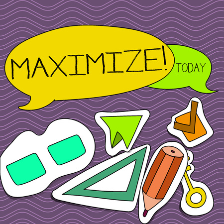 Word writing text Maximize. Business photo showcasing Increase to the greatest possible amount or degree Make larger Two Blank Colorful Speech Balloon and Different Labels Sticker Style Icons Stock Photo