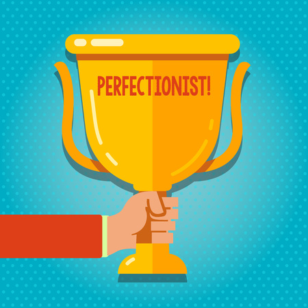 Word writing text Perfectionist. Business photo showcasing Person who wants everything to be perfect Highest standards Hand Holding Blank Golden Championship Winners Cup Trophy with Reflection Фото со стока
