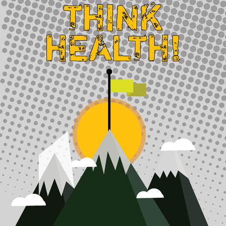 Handwriting text writing Think Health. Conceptual photo state of complete physical mental and social well being Three High Mountains with Snow and One has Blank Colorful Flag at the Peak