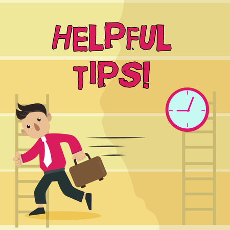 Writing note showing Helpful Tips. Business concept for advices given to be helpful knowledge in life Man Carrying Briefcase Walking Past the Analog Wall Clock Zdjęcie Seryjne