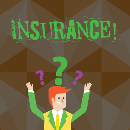 Handwriting text Insurance. Conceptual photo Policy for financial protection or reimbursement against losses Confused Businessman Raising Both Arms with Question Marks Above his Head Zdjęcie Seryjne