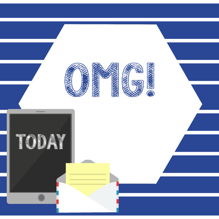 Text sign showing Omg. Business photo showcasing Oh my good abbreviation Modern Astonishment expression Open Envelope with Paper and Blank Tablet Screen on Colorful Blank Space 写真素材