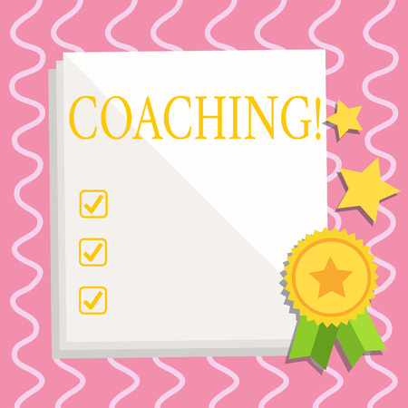 Text sign showing Coaching. Business photo text Prepare Enlightened Cultivate Sharpening Encourage Strenghten White Blank Sheet of Parchment Paper Stationery with Ribbon Seal Stamp Label Zdjęcie Seryjne