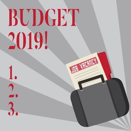 Writing note showing Budget 2019. Business concept for estimate of income and expenditure for current year Announcement File for Employment Opportunity with Briefcase Zdjęcie Seryjne