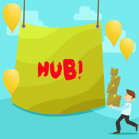 Text sign showing Hub. Business photo text Device connecting computers Center of Wheel Activities Transportation Man Carrying Pile of Boxes with Blank Tarpaulin in the Center and Balloons Zdjęcie Seryjne