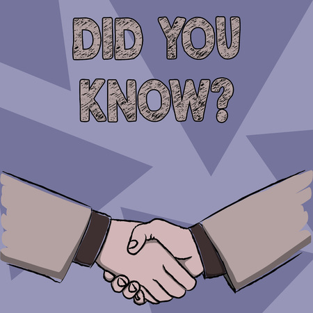 Text sign showing Did You Know Question. Business photo showcasing when you are asking someone if they know fact or event Businessmen Shaking Hands Firmly as Gesture Form of Greeting and Agreement Stock Photo