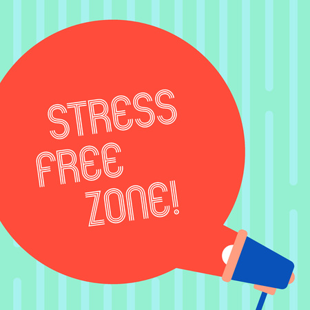 Word writing text Stress Free Zone. Business photo showcasing space students can learn and regularly practice evidence Blank Round Color Speech Bubble Coming Out of Megaphone for Announcement 写真素材