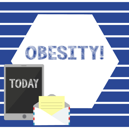 Text sign showing Obesity. Business photo showcasing Medical condition Excess of body fat accumulated Health problem Open Envelope with Paper and Blank Tablet Screen on Colorful Blank Space