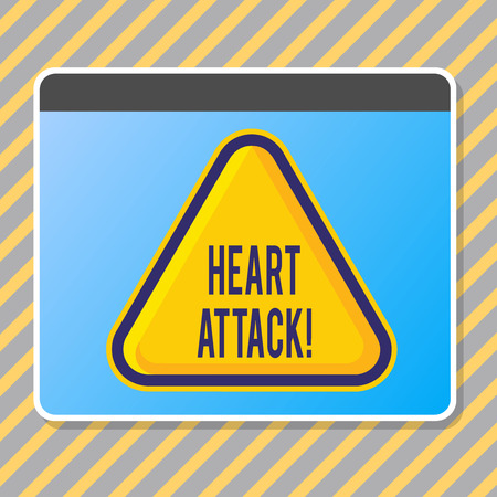 Conceptual hand writing showing Heart Attack. Concept meaning sudden occurrence of coronary thrombosis resulting in death Blank Yellow Embossed Triangle with Border as Web Button In Screen Banco de Imagens