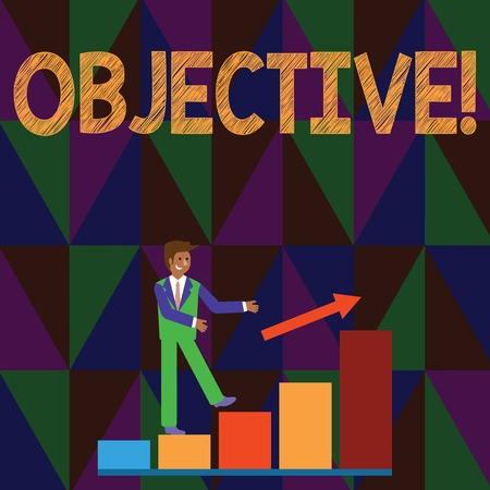 Conceptual hand writing showing Objective. Concept meaning Goal planned to be achieved Desired target Company mission Smiling Businessman Climbing Bar Chart Following an Arrow Up