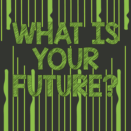 Text sign showing What Is Your Future question. Business photo text Where do you see yourself in the next years Abstract photo of Uneven Vertical Lines Coming From Above and Below