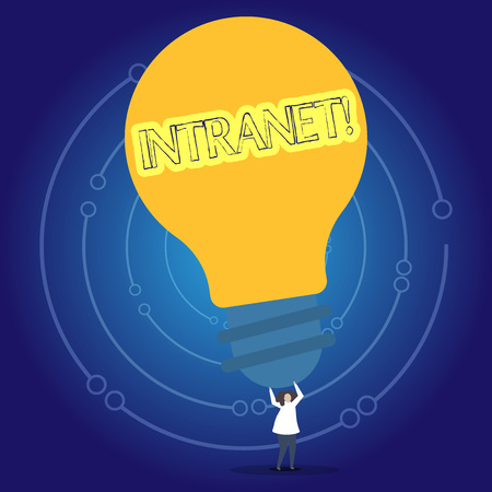 Conceptual hand writing showing Intranet. Concept meaning Private network of a company Interlinked local area networks Person Standing Arms Holding Big Yellow Lightbulb for Ideas