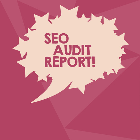 Conceptual hand writing showing Seo Audit Report. Concept meaning analysis website based on factors important search engines Oval Color Speech Bubble with Stars as Outline Text Space