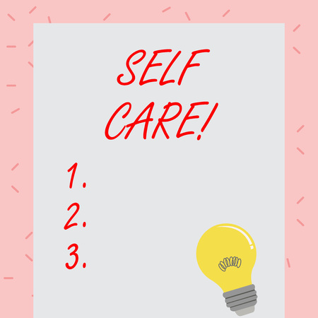 Text sign showing Self Care. Business photo showcasing practice of taking action preserve or improve ones own health Incandescent Light Bulb with Filament Inside Resting on Blank Color Paper