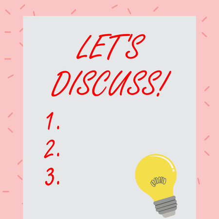 Text sign showing Let S Discuss. Business photo showcasing asking someone to talk about something with demonstrating or showing Incandescent Light Bulb with Filament Inside Resting on Blank Color Paper Zdjęcie Seryjne