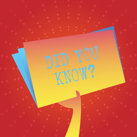 Writing note showing Did You Know Question. Business concept for when you are asking someone if they know fact or event Hand Holding Blank Space Color File Folder with Sheet Inside
