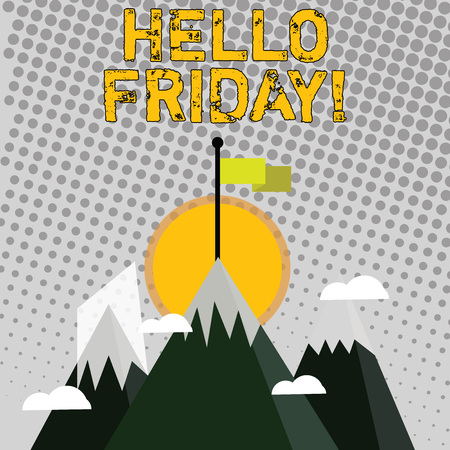 Handwriting text writing Hello Friday. Conceptual photo used to express happiness from beginning of fresh week Three High Mountains with Snow and One has Blank Colorful Flag at the Peak Banco de Imagens