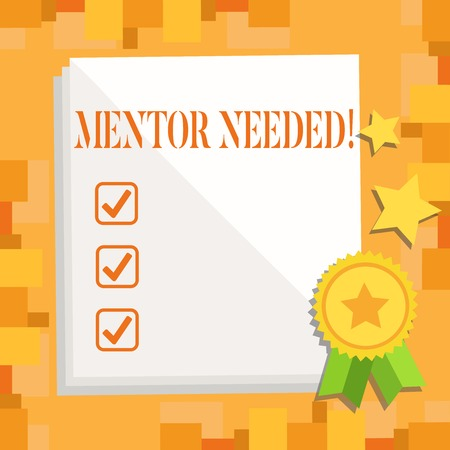 Writing note showing Mentor Needed. Business concept for Guidance advice support training required White Sheet of Parchment Paper with Ribbon Seal Stamp Label Zdjęcie Seryjne