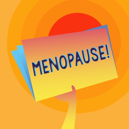 Word writing text Menopause. Business photo showcasing Cessation of menstruation Older women hormonal changes period Hand Holding and Raising Blank Space Colorful File Folder with Sheet Inside Zdjęcie Seryjne