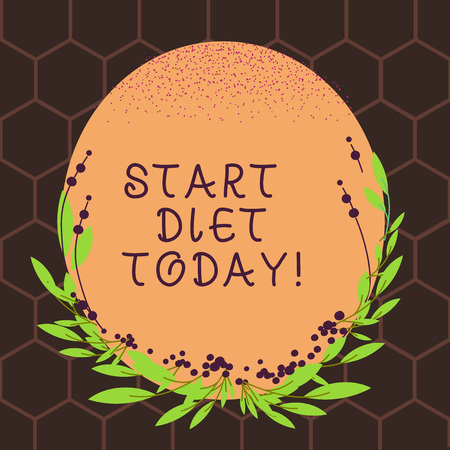 Text sign showing Start Diet Today. Business photo text special course food to which demonstrating restricts themselves Blank Color Oval Shape with Leaves and Buds as Border for Invitation Banco de Imagens