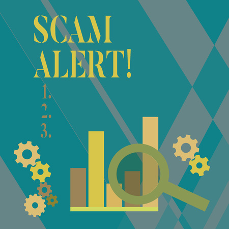 Word writing text Scam Alert. Business photo showcasing fraudulently obtain money from victim by persuading him Magnifying Glass Over Bar Column Chart beside Cog Wheel Gears for Analysis Stock Photo - 118997360