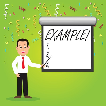 Conceptual hand writing showing Example. Concept meaning Illustration Sample Model to follow Guide Explanation For instance Man in Necktie Holding Stick Pointing White Screen on Wall Stockfoto