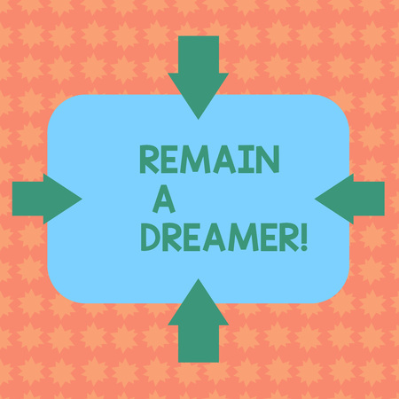 Writing note showing Remain A Dreamer. Business concept for they spend lot of time thinking about and planning things Arrows on Four Sides of Blank Rectangular Shape Pointing Inward photo