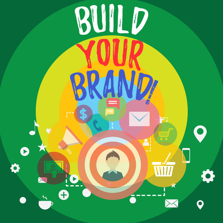 Handwriting text Build Your Brand. Conceptual photo creates or improves customers knowledge and opinions of product photo of Digital Marketing Campaign Icons and Elements for Ecommerce