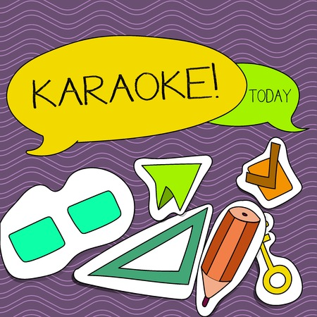Word writing text Karaoke. Business photo showcasing Entertainment singing along instrumental music played by a machine Two Blank Colorful Speech Balloon and Different Labels Sticker Style Icons