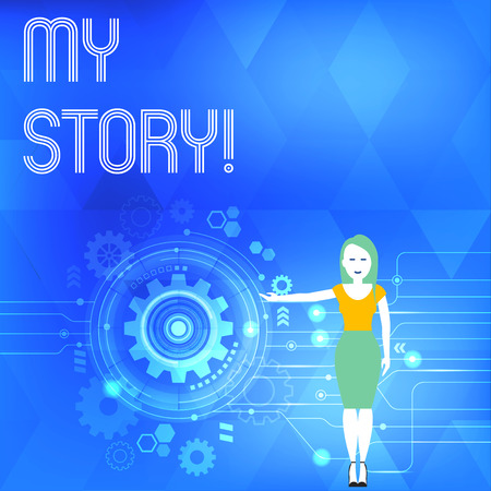 Conceptual hand writing showing My Story. Concept meaning your past life events actions or choices you made Woman Presenting the SEO Process with Cog Wheel Gear inside