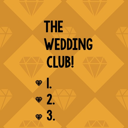 Conceptual hand writing showing The Wedding Club. Concept meaning place where couple throws big party getting married Geometrical Color Shape Tilted Square in Seamless Pattern