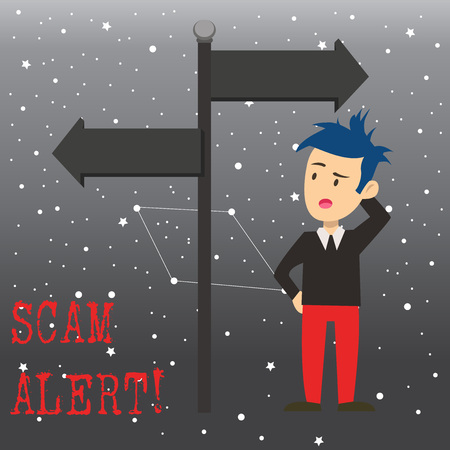 Writing note showing Scam Alert. Business concept for fraudulently obtain money from victim by persuading him Man Confused with Road Sign Pointing to Opposite Direction