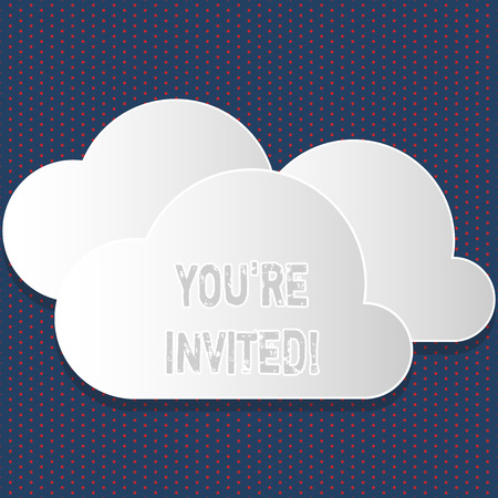 Text sign showing You Re Invited. Business photo showcasing make a polite friendly request to someone go somewhere Blank White Fluffy Clouds Cut Out of Board Floating on Top of Each Other Stock Photo