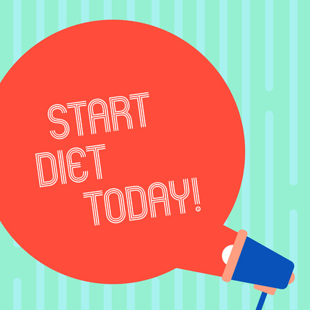 Word writing text Start Diet Today. Business photo showcasing special course food to which demonstrating restricts themselves Blank Round Color Speech Bubble Coming Out of Megaphone for Announcement