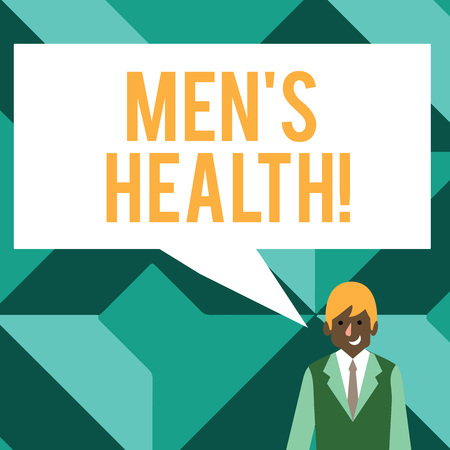 Conceptual hand writing showing Men S Health. Concept meaning state of complete physical mental and social well being by analysis Businessman Smiling and Talking Blank Color Speech Bubble Imagens