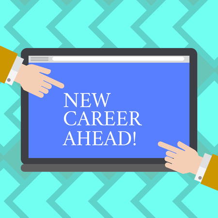 Text sign showing New Career Ahead. Business photo showcasing advance by moving from entry level job analysisagement position Hu analysis Hands from Both Sides Pointing on a Blank Color Tablet Screen
