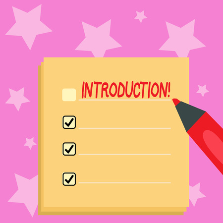 Handwriting text writing Introduction. Conceptual photo First part of a document Formal presentation to an audience Blank Colorful To Do Check List Planner Sheets with Tick Box and Marker Pen