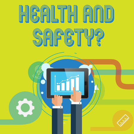 Word writing text Health And Safety Question. Business photo showcasing regulations and procedures to prevent accident or injury Businessman Hand Touching Pointing to Bar Line Chart on Smartphone Screen