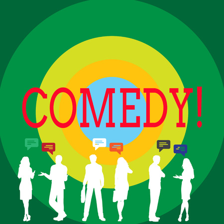 Conceptual hand writing showing Comedy. Concept meaning Fun Humor Satire Sitcom Hilarity Joking Entertainment Laughing Figures of People Talking with Gestures and Text Balloon