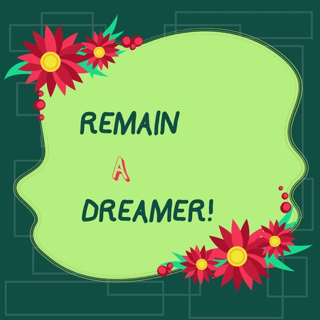 Text sign showing Remain A Dreamer. Business photo showcasing they spend lot of time thinking about and planning things Blank Uneven Color Shape with Flowers Border for Cards Invitation Ads