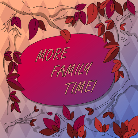 Writing note showing More Family Time. Business concept for Spending quality family time together is very important Tree Branches Scattered with Leaves Surrounding Blank Color Text Space