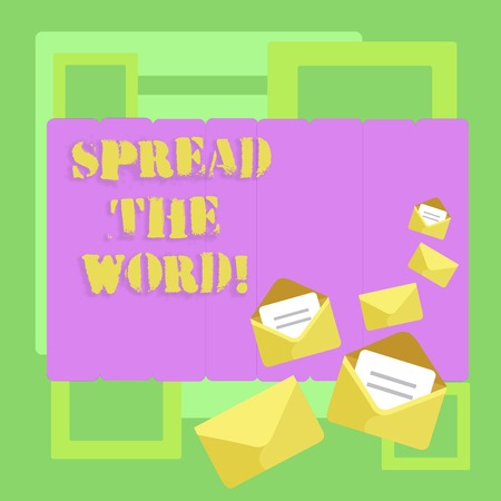 Conceptual hand writing showing Spread The Word. Concept meaning Run advertisements to increase store sales analysisy fold Closed and Open Envelopes with Letter on Color Stationery