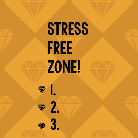 Conceptual hand writing showing Stress Free Zone. Concept meaning space students can learn and regularly practice evidence Geometrical Color Shape Tilted Square in Seamless Pattern Imagens