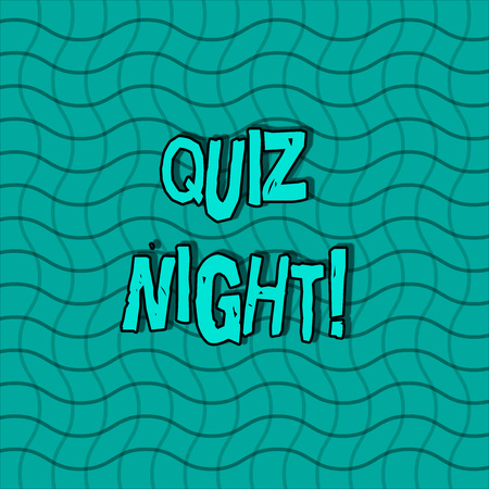 Word writing text Quiz Night. Business photo showcasing evening test knowledge competition between individuals Wavy Horizontal and Vertical Lines in Square Mesh Net Pattern in Green Tone