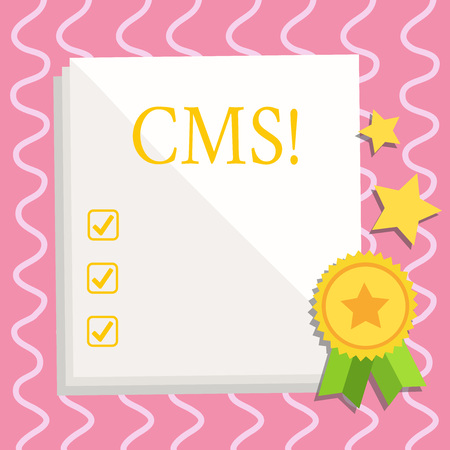 Text sign showing Cms. Business photo text Content Management System supports modification of digital content White Blank Sheet of Parchment Paper Stationery with Ribbon Seal Stamp Label