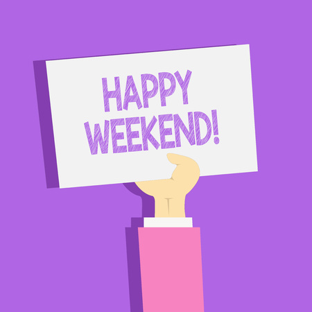 Text sign showing Happy Weekend. Business photo showcasing something nice has happened or they feel satisfied with life Clipart of Hand Holding Up Blank Sheet of White Paper on Pastel Backdrop 写真素材