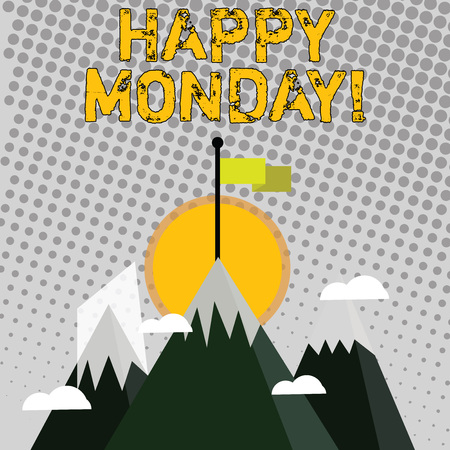 Handwriting text writing Happy Monday. Conceptual photo telling that demonstrating order to wish him great new week Three High Mountains with Snow and One has Blank Colorful Flag at the Peak Banco de Imagens