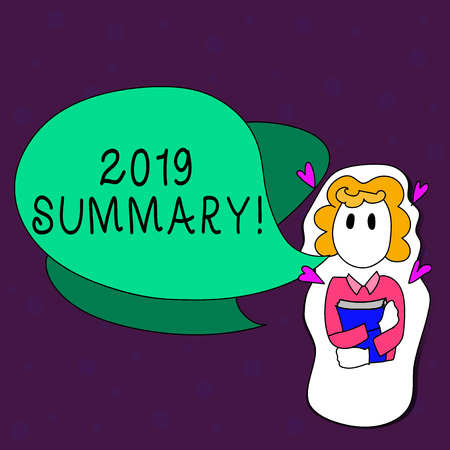 Text sign showing 2019 Summary. Business photo text summarizing past year events main actions or good shows Girl Holding Book with Small Hearts Around her and Two Color Speech Bubble Imagens